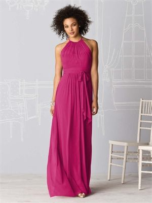 A-line Round Neck With Sash Fuchsia Bridesmaid Dress BD0308 www.simpledresses.co.uk £107.0000