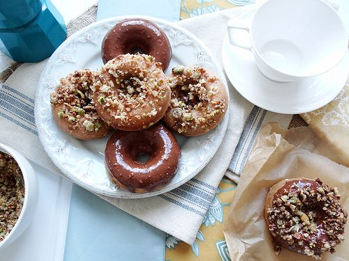 not gluten free, but could be: vegan baked donuts