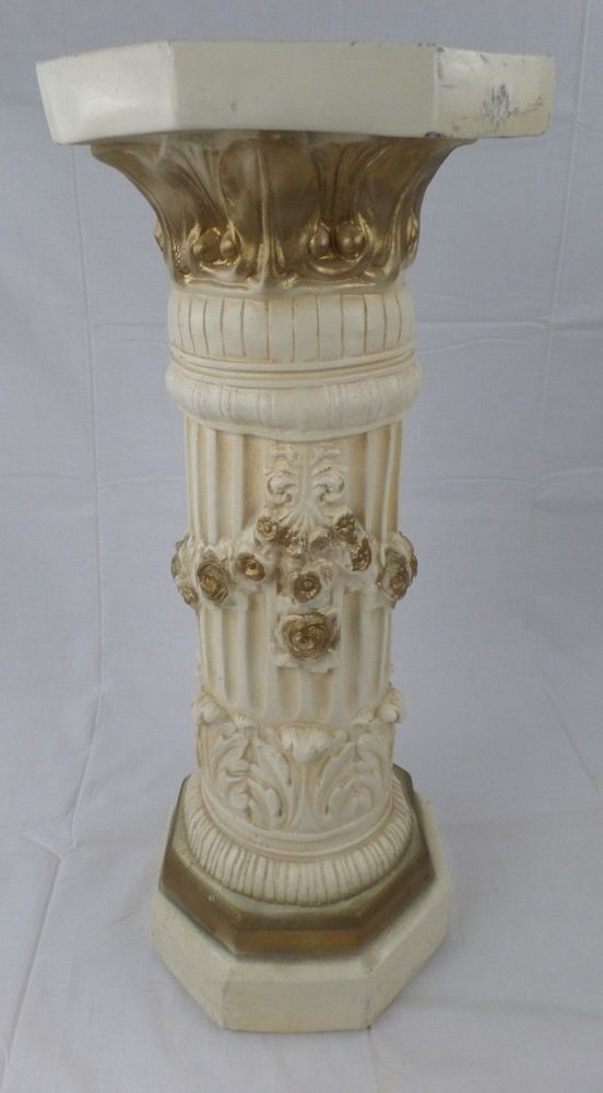 White chalk pedestal and columns on pinterest - Column pedestal plant stand ...