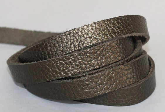 7-10 mm  Leather  Flat cord , Metallic Army Green Genuine Leather Strap by JLLeatherSupplies on Etsy