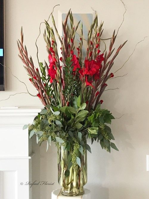 Simple Floral Design Of Red Gladiolus Flowers In Cylinder Vase With Curly Willow Flower Arrangements Simple White Flower Arrangements Gladiolus Arrangements