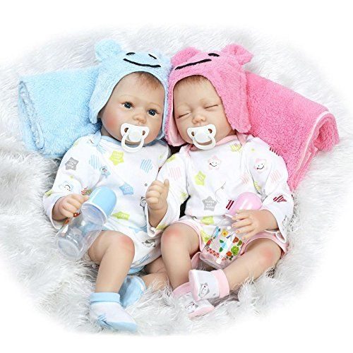 22/'Twin Girl+Boy 2pcs Reborn Baby Doll Lifelike Vinyl Silicone Handmade Doll Toy
