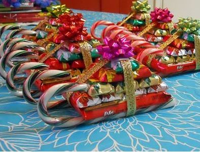 how did I not think of this! Sleigh made out of candy canes, add a pile of chocolat bars and rape!: