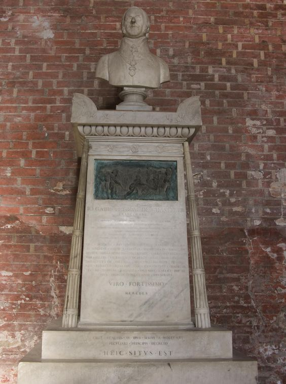 Marquis du Chasteler Tomb - Venetian Governor -- Basillica di San Giovanni e Paolo & Vicinity, Venice, Italy - Jean-Gabriel-Joseph-Albert Marquis du Chasteler de Courcelles (b.1763 Mons Belgium – d. Venice 1825)  began his Austrian military service in 1776 as a cadet in Infantry Regiment N°3 'Prinz Karl von Lothringen',  He later entered the Ingenieur-Akademie in Vienna. Chasteler fought in the wars against the Turks from 1787-90. ,,,,,,,,,,,,,,,,,,,,,,