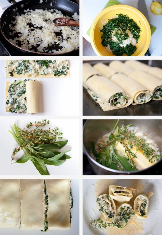 Recipeco-op.com: Spinach Rolls with Thyme and Sage Brown Butter Sauce by Colleen Guenther