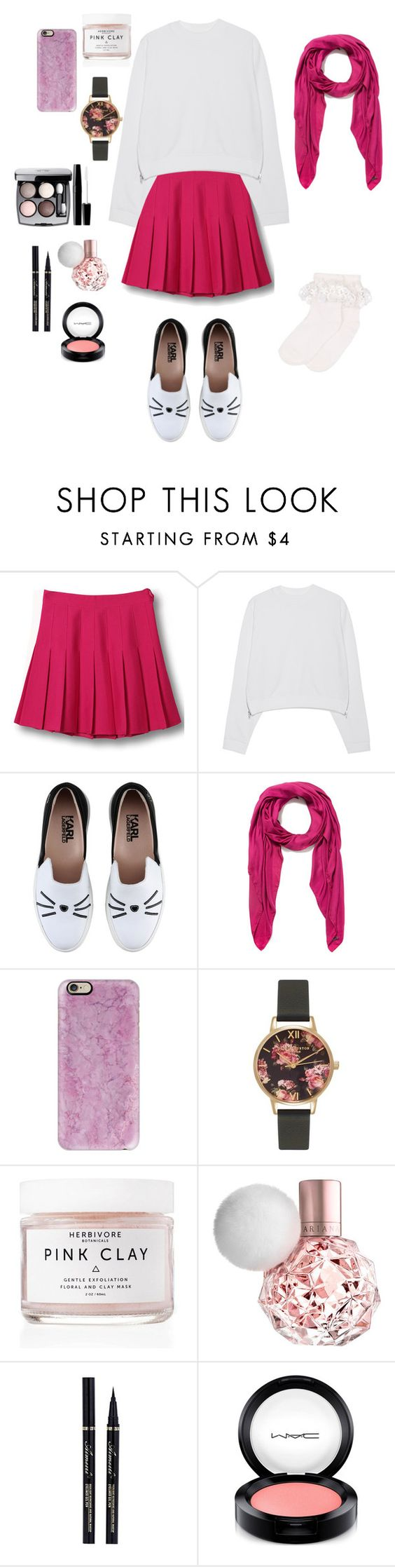 """Pink for life"" by bettyraven111 ❤ liked on Polyvore featuring WithChic, Acne Studios, Karl Lagerfeld, Faliero Sarti, Casetify, Olivia Burton, Herbivore Botanicals, Chanel, MAC Cosmetics and Monsoon"