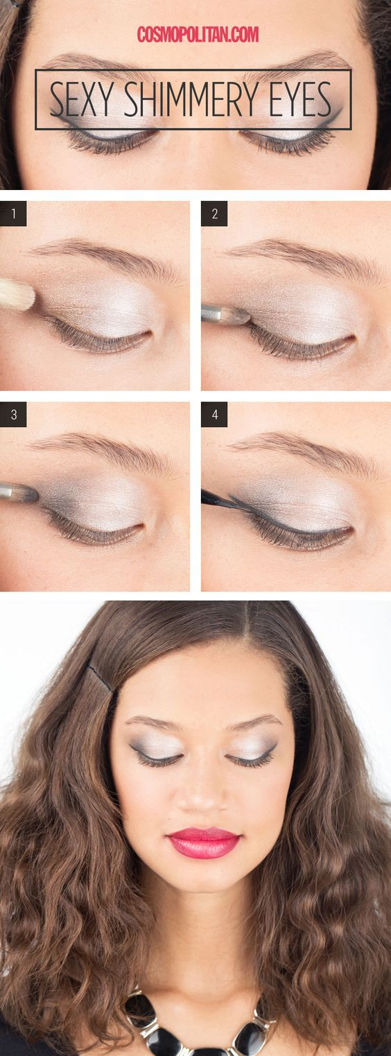 Makeup How-To: Sexy Shimmery Eyes - Smoky eyes don't always have to hail from the dark side. Makeup artist Lauren Cosenza shows and tells you exactly how to create a lighter looking, yet equally sexy smoky look in four easy steps.