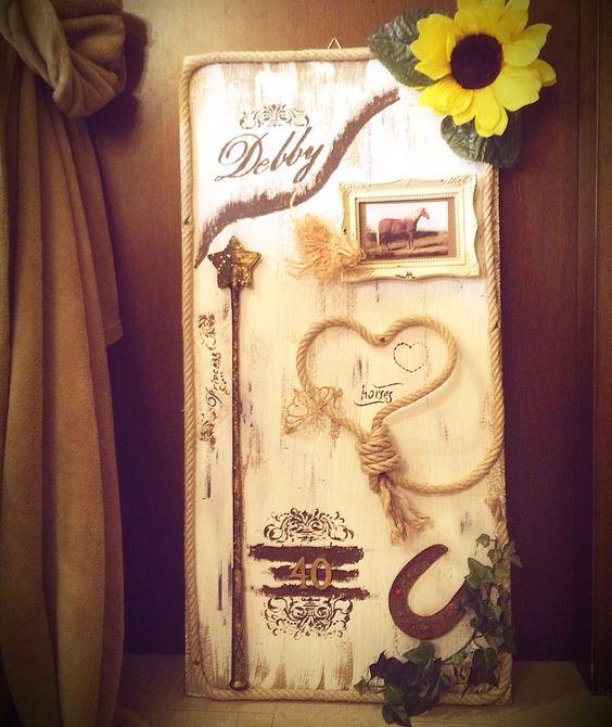 Pannello decorativo dedicato , tema passione cavalli per la mia grande amica Debby ( home decor)