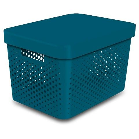Room Essentials™ Storage Large Bin- Perforated Teal - For Closet Storage
