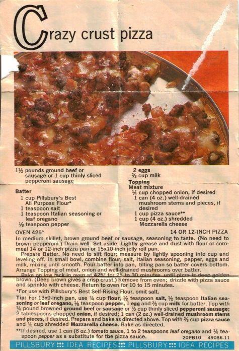 Crazy Crust Pizza Recipe Crazy Crust Pizza Recipe Pizza Recipes Dough Pizza Crust