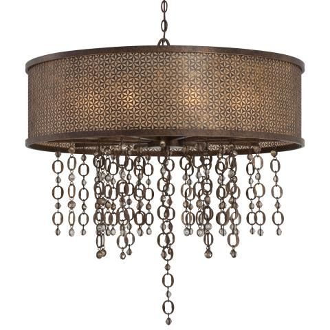 Ajourer Collection - Ten Light Drum Pendant - Ten Light Drum Pendant in French Bronze Finish w/Jeweled Accents
