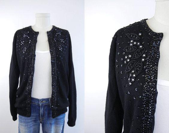 Vintage Beaded Wool Cardigan / 1960s Black by zestvintage on Etsy, $42.00