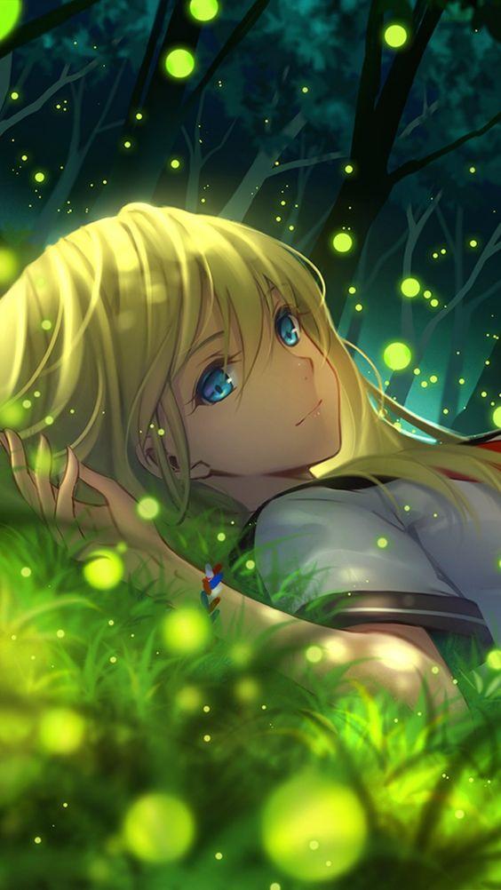 Fille, rêve, herbe, manga