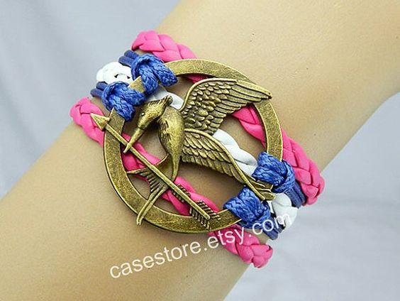 Mockingjay pin bracelethot pink and white by charmcover on Etsy, $7.99