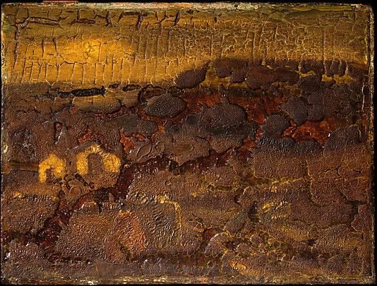 """""""Curfew Hour,"""" Albert Pinkham Ryder, by 1882, oil on wood, 7 1/2 x 10"""", Metropolitan Museum of Art.  Ryder was constantly experimenting with his painting mediums, and many of his works have deteriorated.  This example has cracked and discolored to a tremendous extent."""