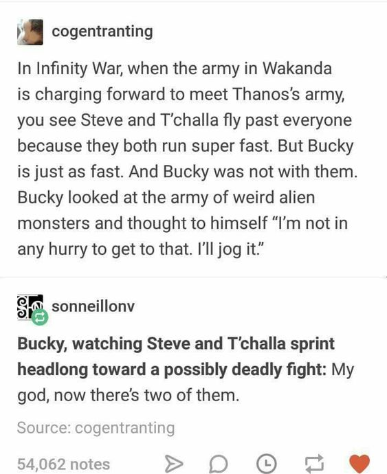 When I watched this scene I was wondering why Bucky wasn't running right there with them, but now this explains it.