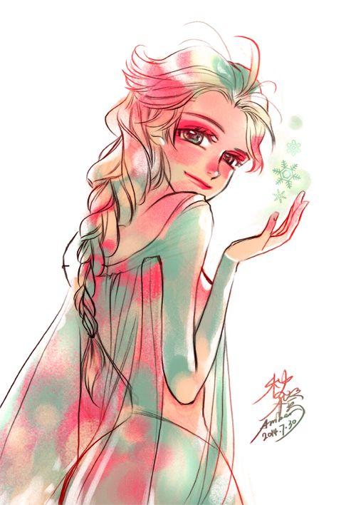 Elsa (Frozen fan art) 2014.7.30 by orangeamber12.tumblr.com