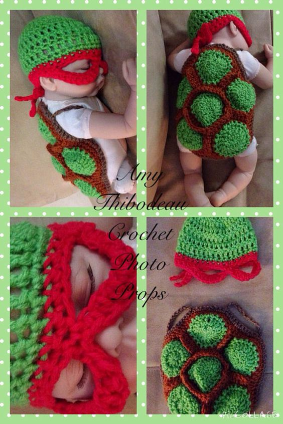 Crochet Ninja Turtle Infant Photo Prop by WillowsBend888 on Etsy, $35.00