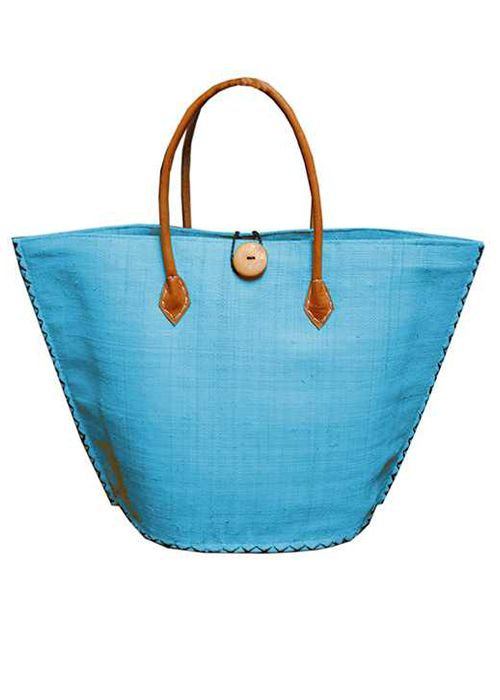 Turquoise V-Shaped Straw Tote