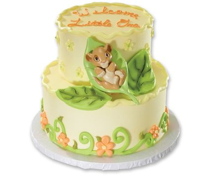 """Food-safe plastic. Approximately 1.5""""H on cake. Includes baby Simba nestled on a green leaf."""