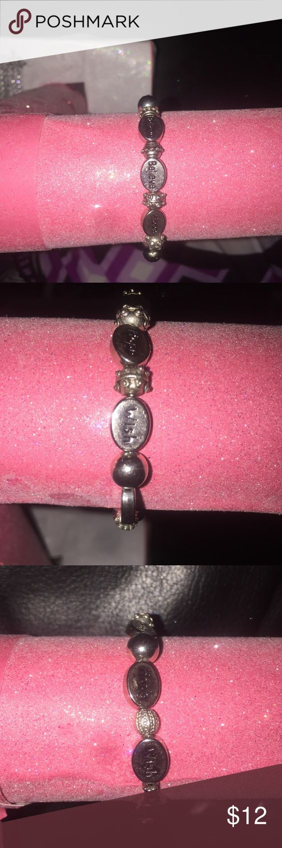 Hope wish believe bracelet Silvertone hope wish believe stretchy bracelet! Very nice beads with hope wish and believe on them! Stretch bracelet one size fits all Jewelry Bracelets