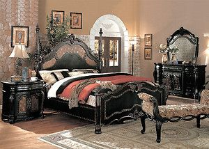4pc Traditional Victorian Black Queen Poster Bed Bedroom Set