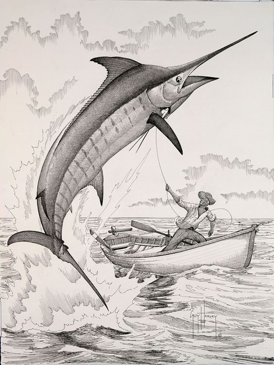 Guy Harvey painting old man and marlin