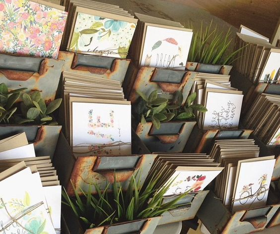 Yellowbungalowshop cards in vintage card catalogs