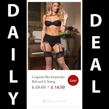 Daily Deal: 50% off our Coquette Bra Suspender Belt and G String ‪#‎coquette‬ ‪#‎sexy‬ ‪#‎naughty‬ ‪#‎sale‬ ‪#‎offer‬ ‪#‎deal‬ ‪#‎lingerie‬ ‪#‎lingeriemodel