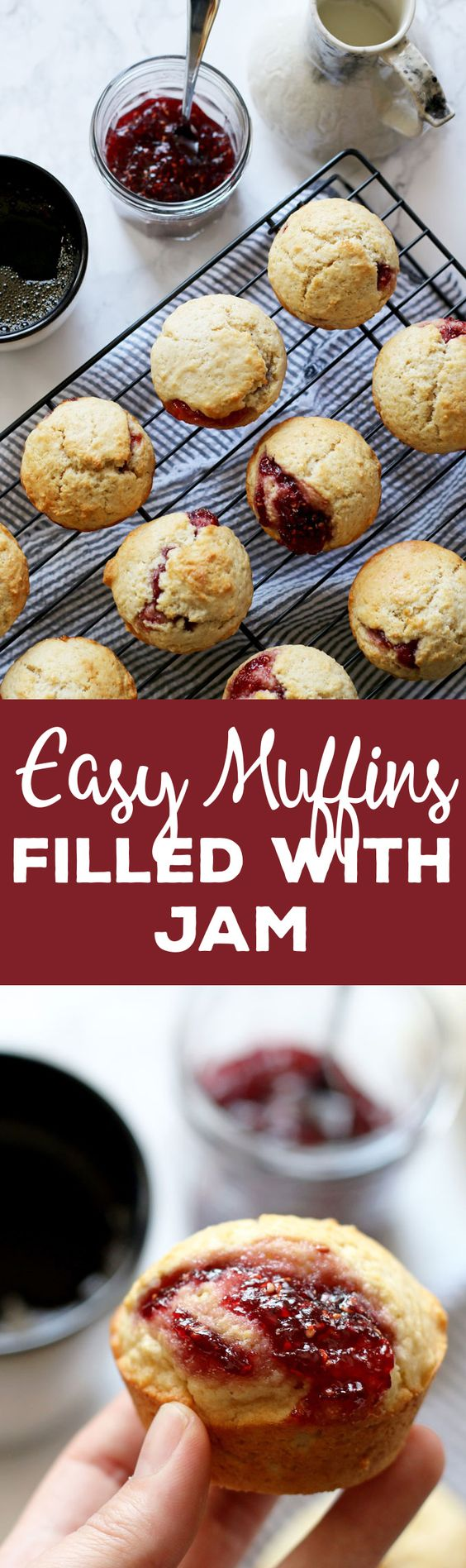 These easy muffins filled with jam are the perfect quick breakfast! I like to eat one or two in the morning with a piping hot cup of coffee. It's such an easy recipe to make that you can make a batch when you wake up.