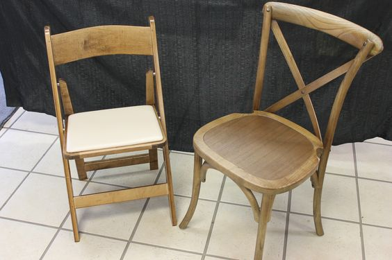 Rent-E-Quip's 2 new choices of chairs for your Rustic wedding.