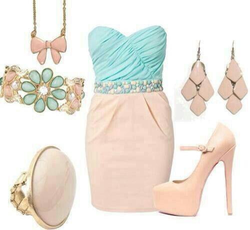 #vestido #rosa #verdeagua