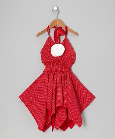 Take a look at this Red & White Rose Shirred Handkerchief Dress - Toddler & Girls by Lele for Kids on #zulily today!