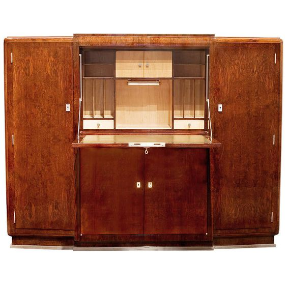 fine art deco secretary cabinet by jules leleu from a unique collection of antique and modern cabinets at art deco figured walnut wardrobe vintage