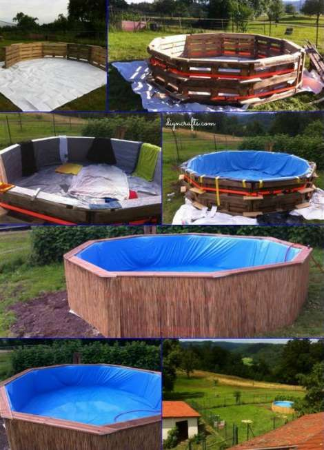 Make Your Own Swimming Pool From 9 Pallets | Hay Bales, Swimming Pools And  Pallets