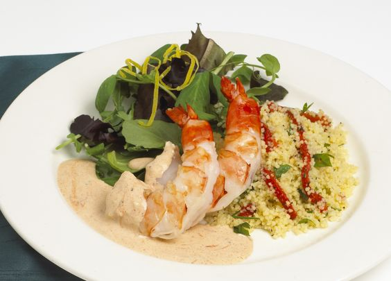 Renée's Chipotle Caesar Shrimp on Cous Cous