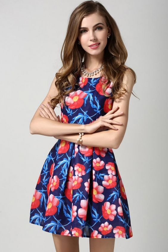 Essential Graphic Floral A-Line Blue Dress