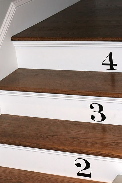 Stair Risers Could Be Painted White To Match Baseboard