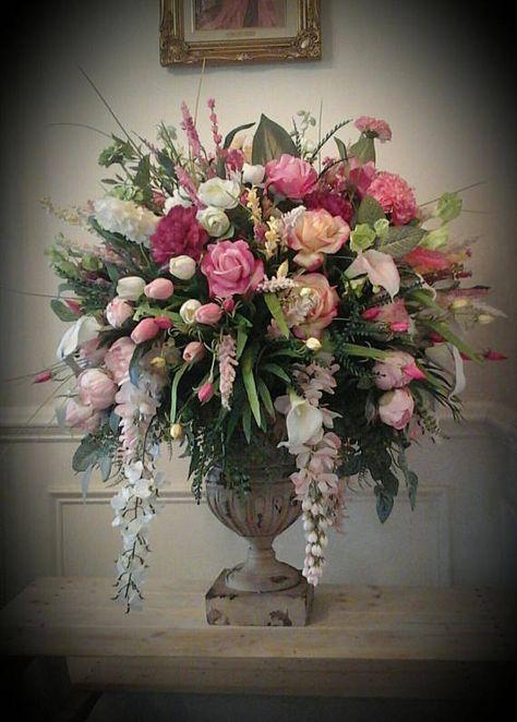 Floral Arrangement Tall Pastel Luxury Floral Centerpiece Etsy Church Flower Arrangements Large Flower Arrangements Flower Arrangements Diy