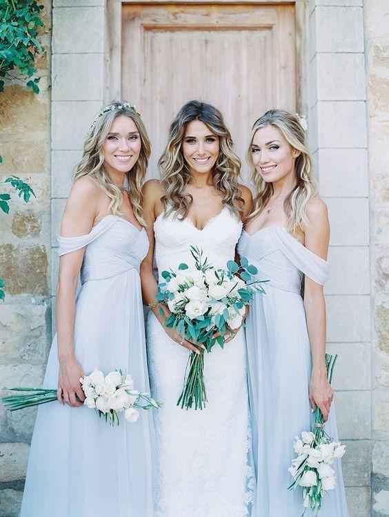 blue off shoulder bridesmaid dresses / http://www.himisspuff.com/bridesmaid-dress-ideas/2/
