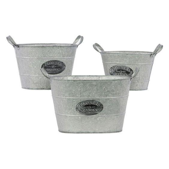 Urban Trends Stadium Shaped Bucket with Metal Handles - Set of 3 - 31407