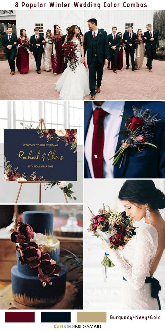 8 Winter Wedding Color Combos for 2018 - No.2 Burgundy, Navy and Gold #colsbm #weddings #weddingideas #burgundy