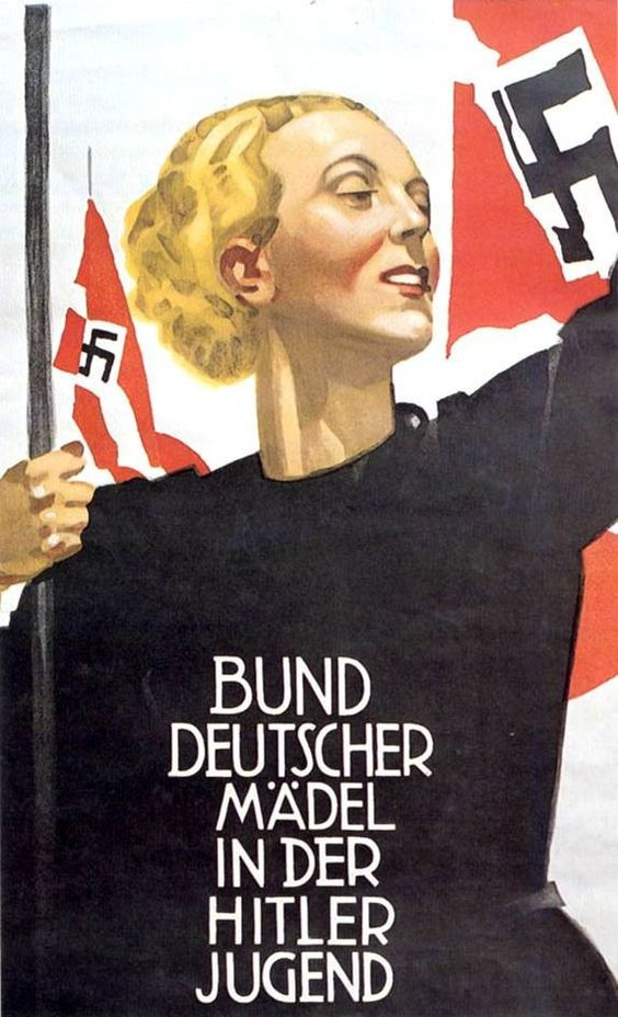 German poster for the Bund Deutscher Mädel. (The League of German Girls or League of German Maidens, was the girl's wing of the overall Nazi party youth movement, the Hitler Youth. It was the only female youth organization in Nazi Germany. Initially the League consisted of two sections: the Jungmädel,  for girls ages 10 to 14, and the League proper for girls ages 14 to 18.)