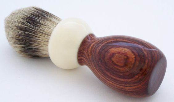Acrylic Ivory and Cocobolo Wood 24mm Silvertip Badger Shaving Brush (Handmade in USA) C1