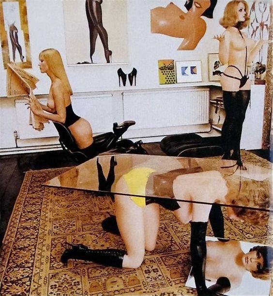 """Allen Jones , """"Pop in Effigy""""  Allen and Janet Brown's home featured in Vogue, January 1970  (Allen's wife, Janet, is kneeling in the Eames chair.)"""
