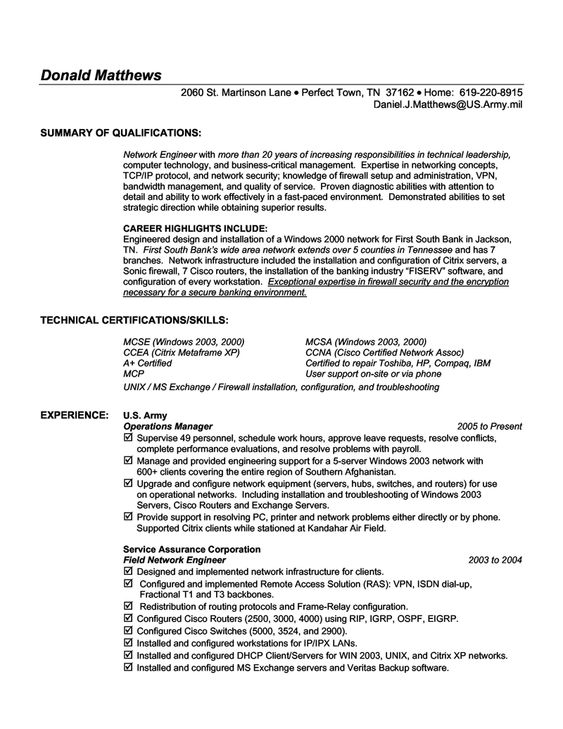 22 Best Functional Resume Examples Resumes and Cover Letters - network engineer cover letter