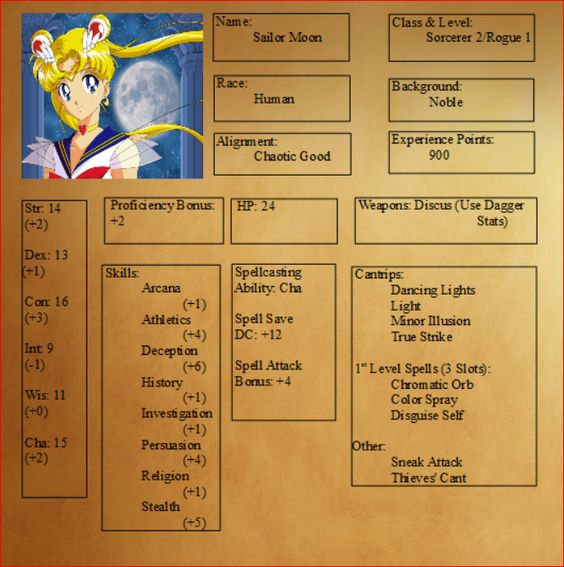 If you've ever wanted to fight evil by moonlight or win love by daylight, have we got the character sheets for you! Now you can play DnD 5e as your favorite Sailor Scout of the Inner Circle and take down the Negaverse. By the power of the moon, may your hits be crits! Sailor Moon Sailor Moon is, depending on how she feels, the weakest and strongest member of the Sailor Scouts. As a sorceress, Sailor Moon is able to cast spells of (moon)light damage. Once she multiclasses as a rogue, Moon is…