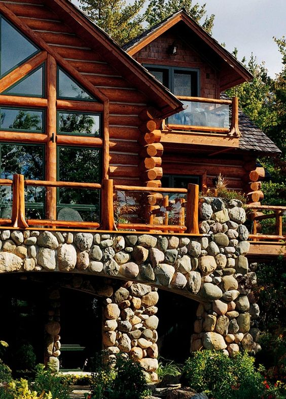 Pinterest the world s catalog of ideas for Log homes with stone