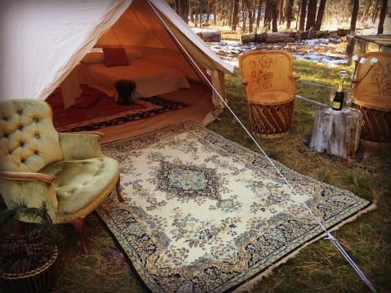 Bell Tent Glamping - Glamping setup by Stout Tent. #belltent #glamping #stouttent
