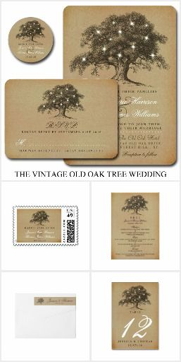 The Vintage Old Oak Tree Wedding Invitation Suite Collection